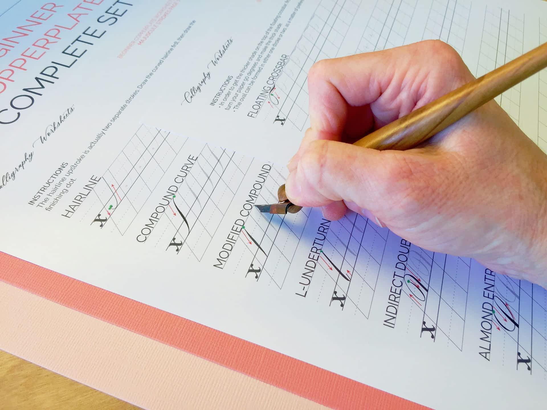 Beginner Copperplate Calligraphy Complete Worksheet Set Uppercase Strokes