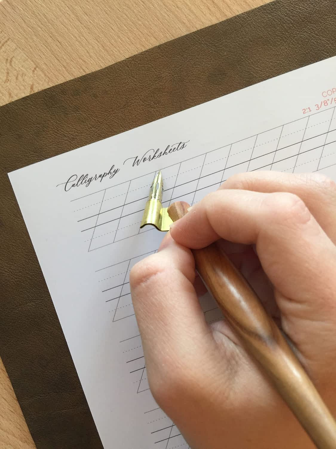 align your flange with the slant line on the paper