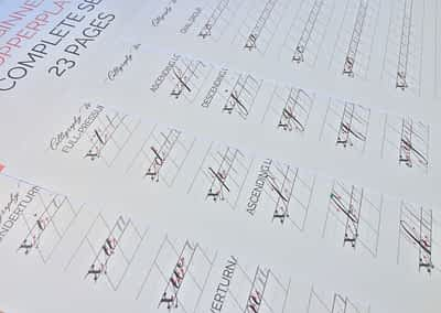 Beginner Copperplate Calligraphy Complete Worksheet Set Lowercase Letters