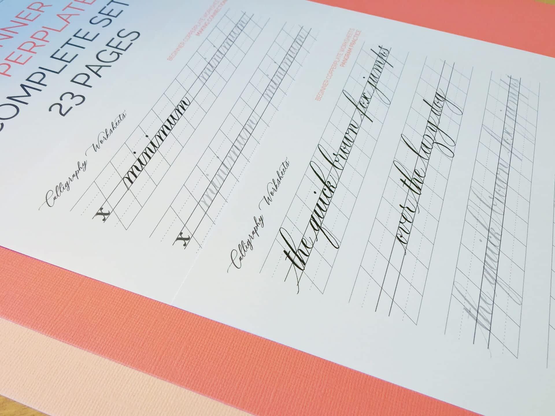 Beginner Copperplate Calligraphy Complete Worksheet Set Pangram Practice