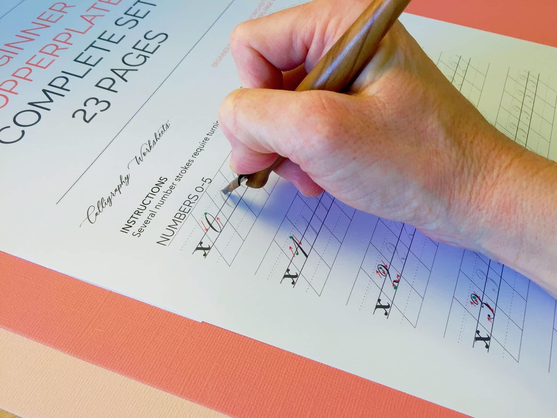 Beginner Copperplate Calligraphy Complete Worksheet Set Numbers