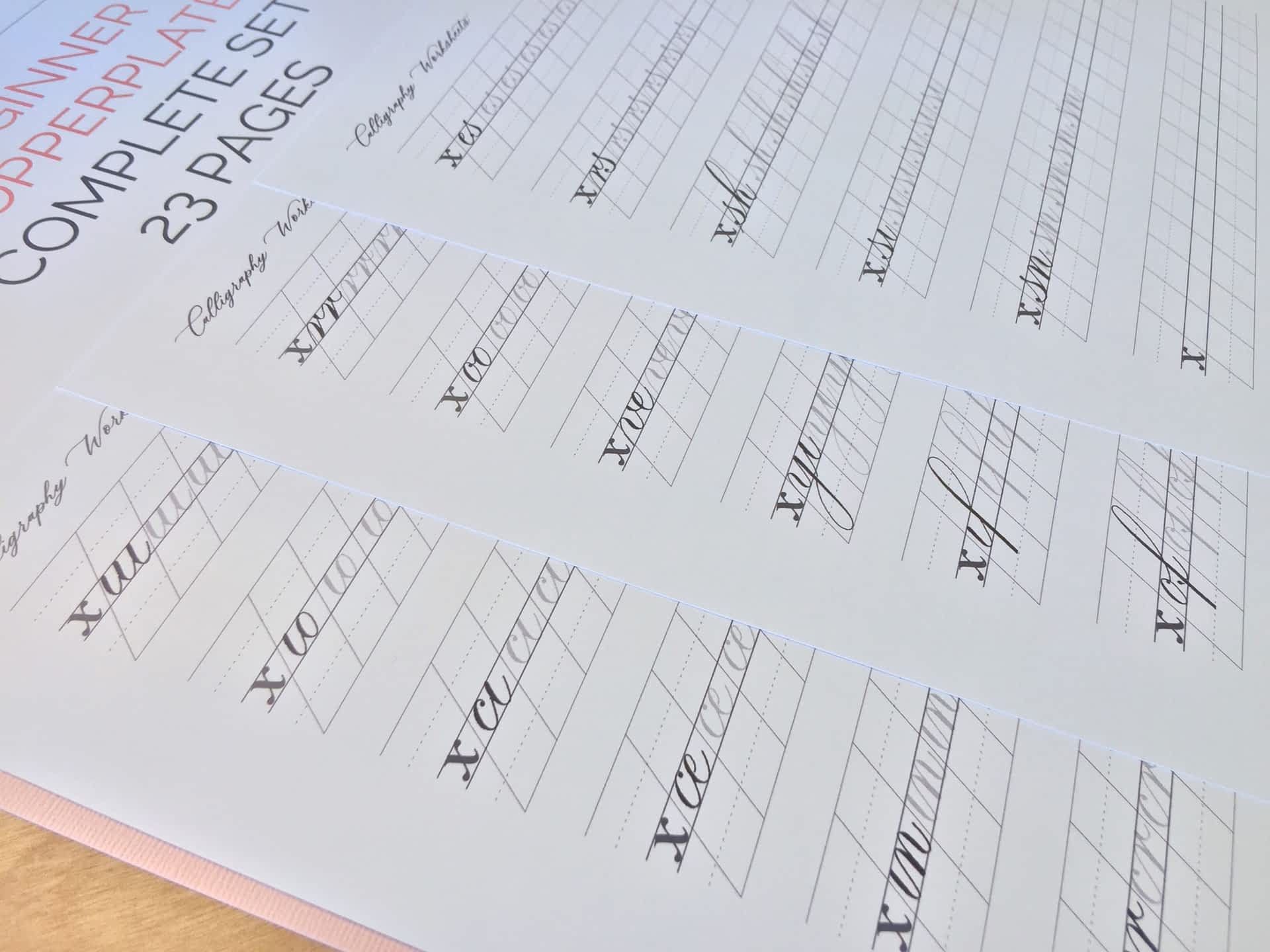 Beginner Copperplate Calligraphy Complete Worksheet Set Connections