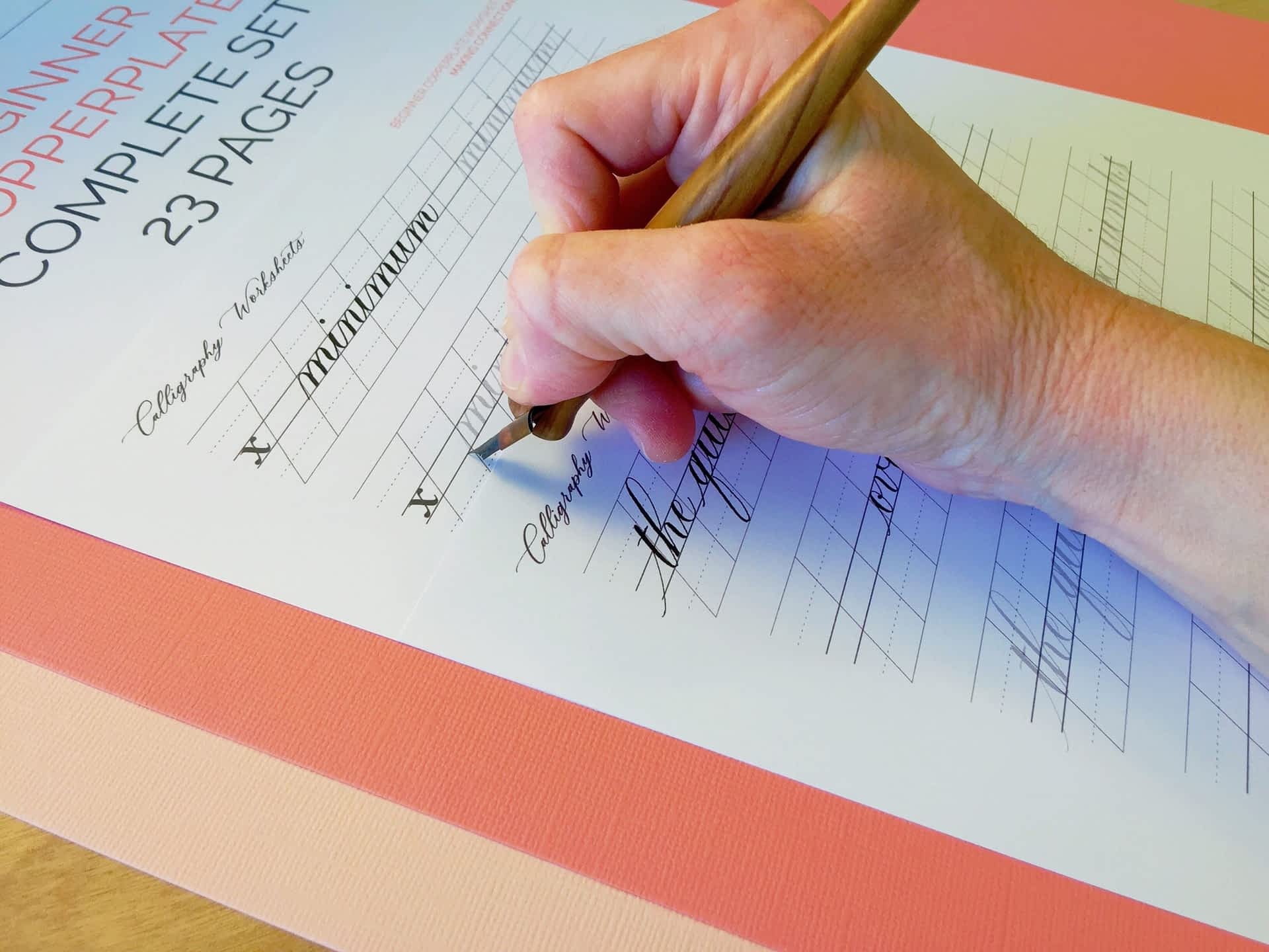 Beginner Copperplate Calligraphy Complete Worksheet Set Word Practice