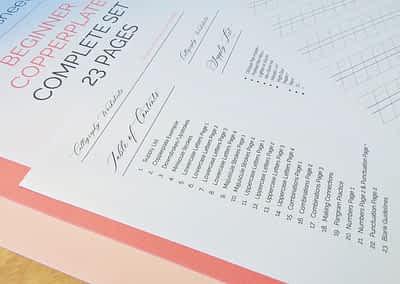 Beginner Copperplate Calligraphy Complete Worksheet Set Supply List