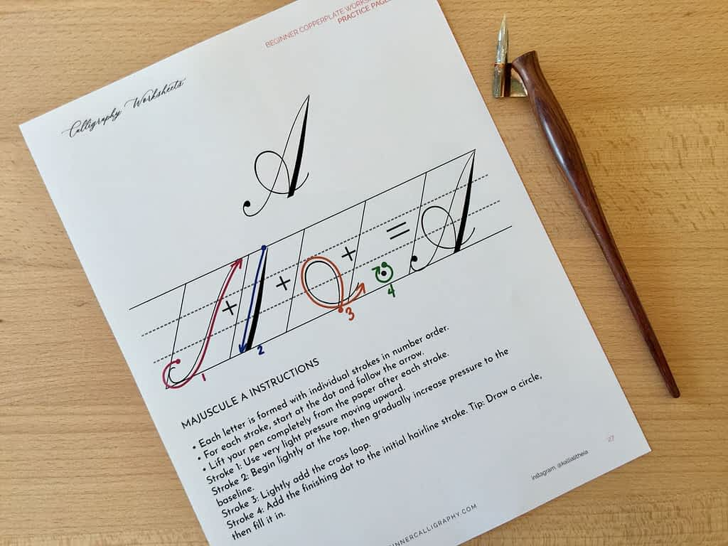 Letter A Instructional Page from the Majuscules Practice Pages Workbook